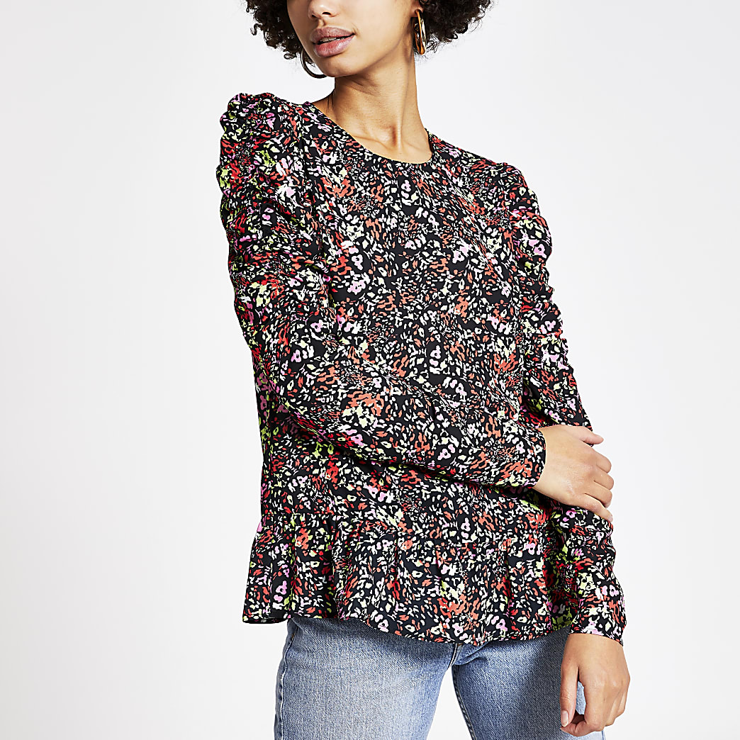 Black printed puff long sleeve top