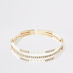 Manchette multirangdorée avec perles