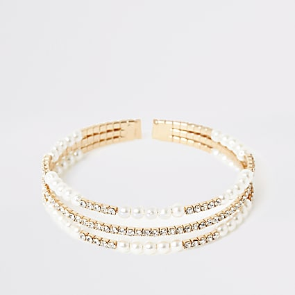 Gold pearl embellished layered cuff bracelet