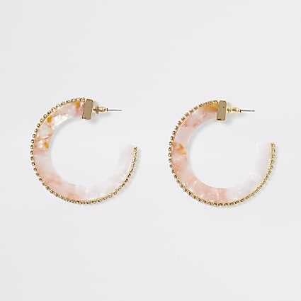 Pink acrylic diamante hoop earrings