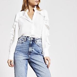 White embellished collar frill shirt