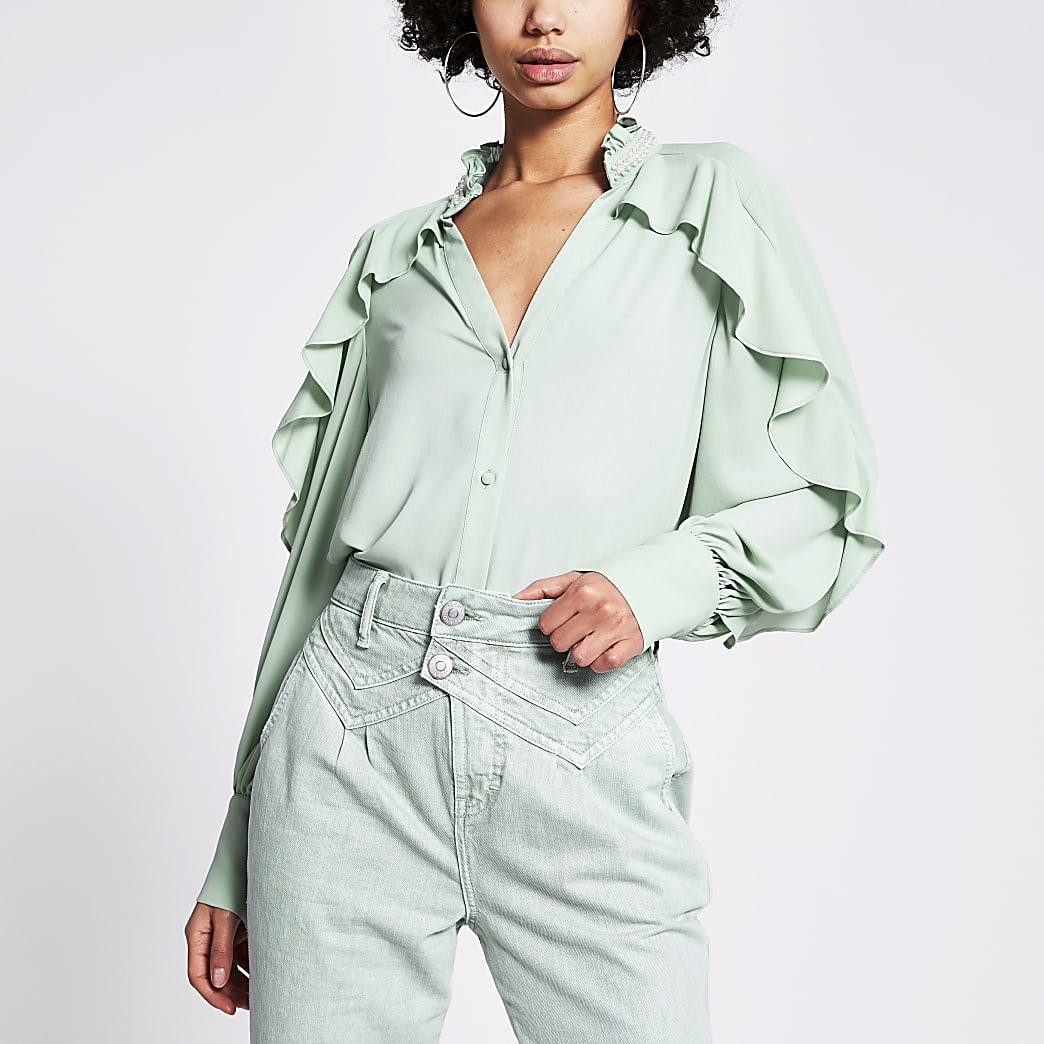 Light green embellished collar frill shirt