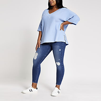 Plus blue lace-up eyelet side knit jumper