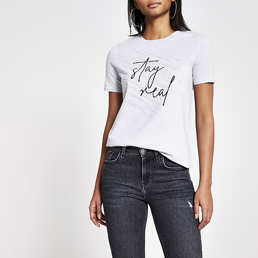T-shirt gris « Stayy real » à strass