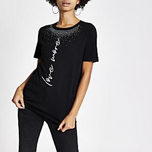 Zwart T-shirt met 'Love more'-tekst en siersteentjes rond hals
