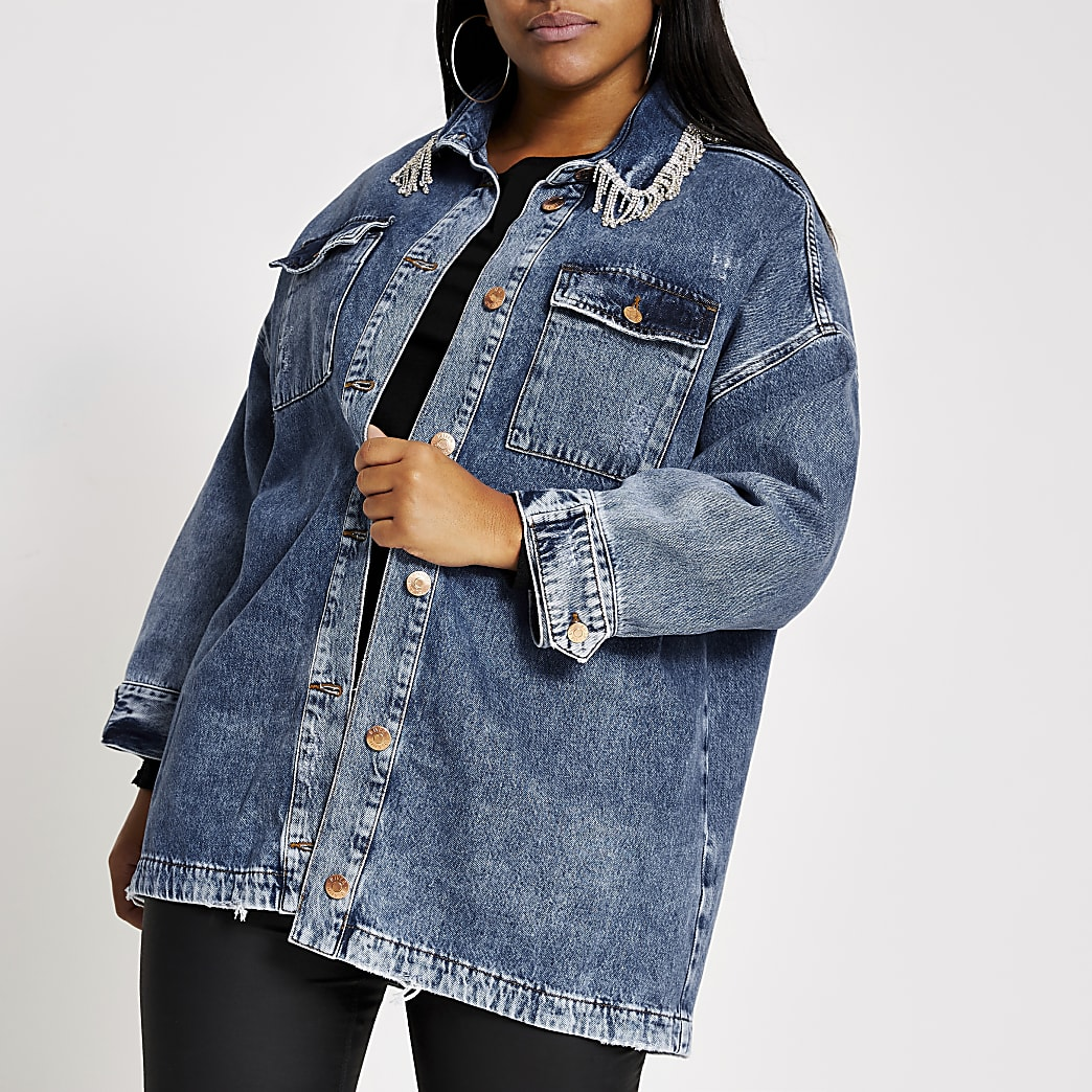 Plus blue diamante tassel denim shacket