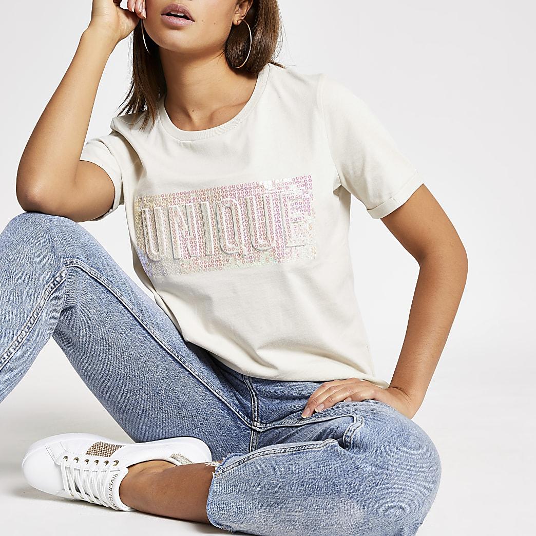 Beige T-shirt met  'Unique'-print in reliëf en pailletten