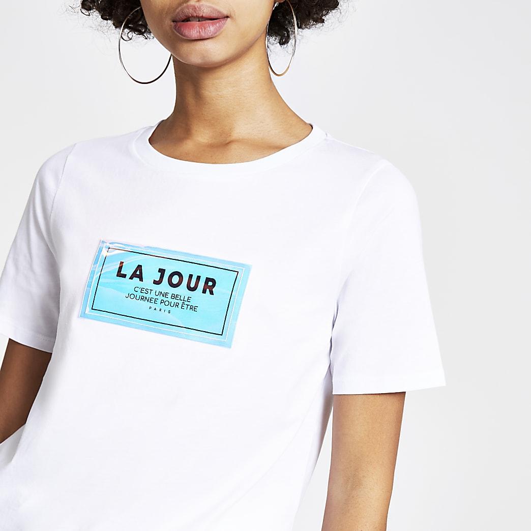 Wit T-shirt met 'La jour'-holografie
