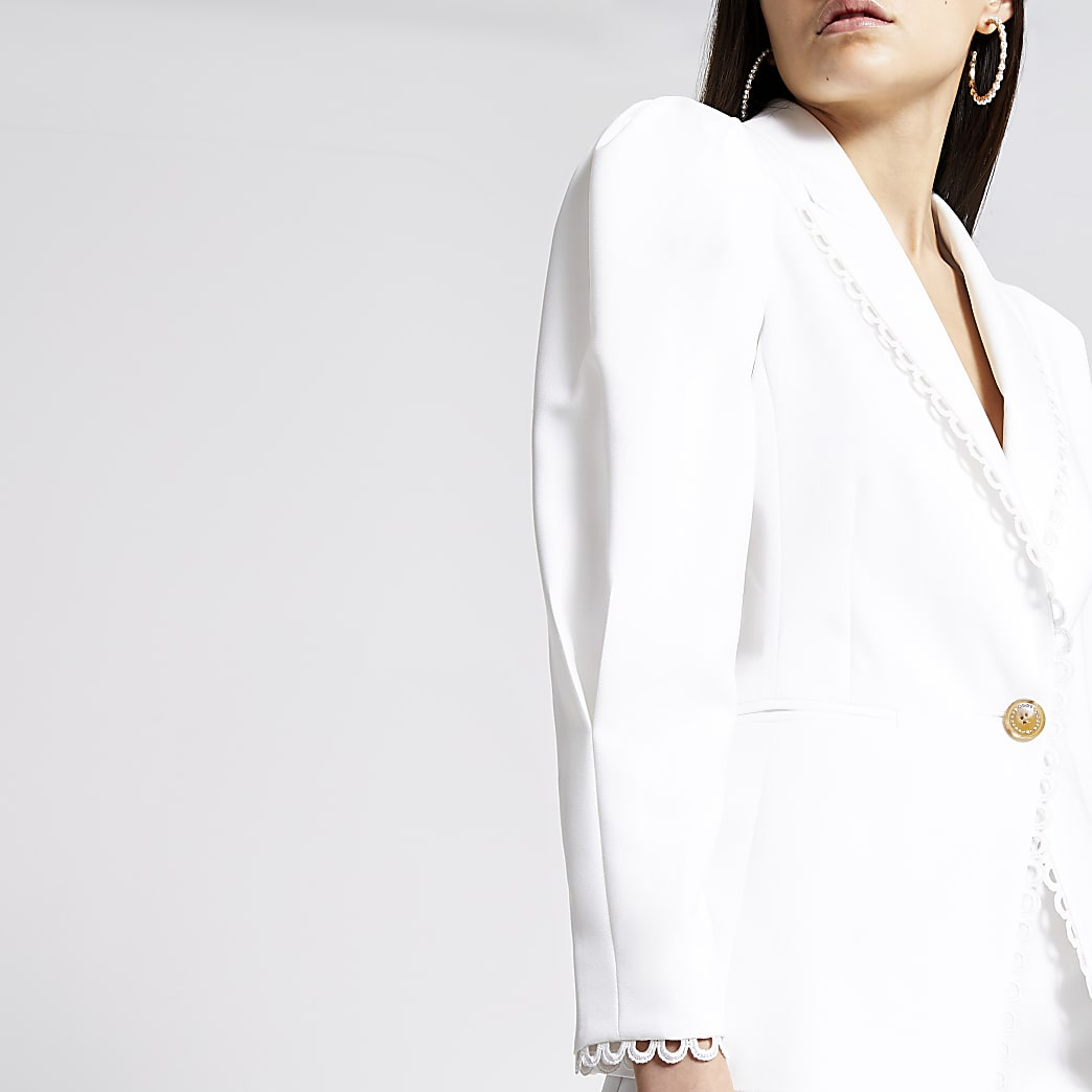 Cream puff sleeve double breasted blazer