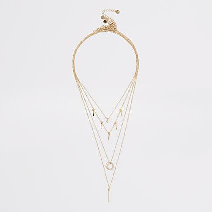Gold colour diamante bar layered necklace