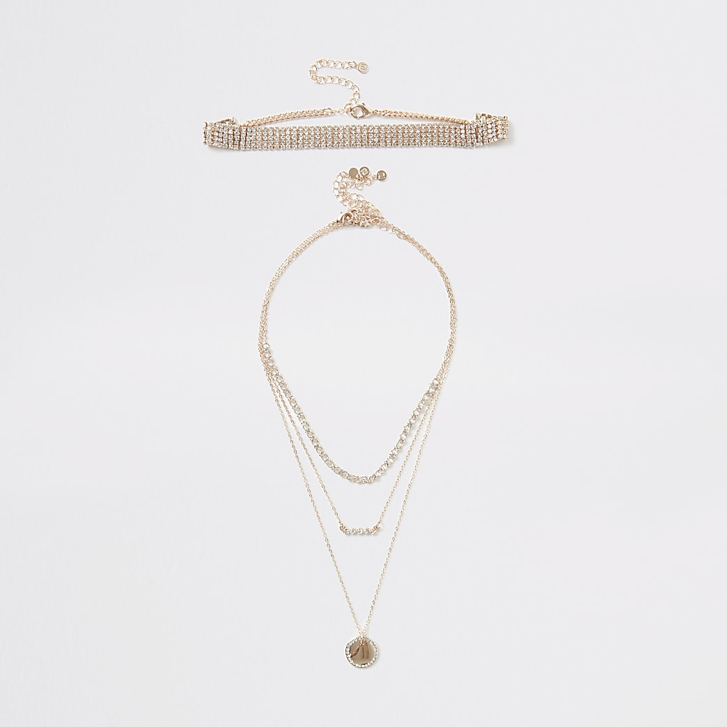 Rose gold colour layered necklace 4 pack