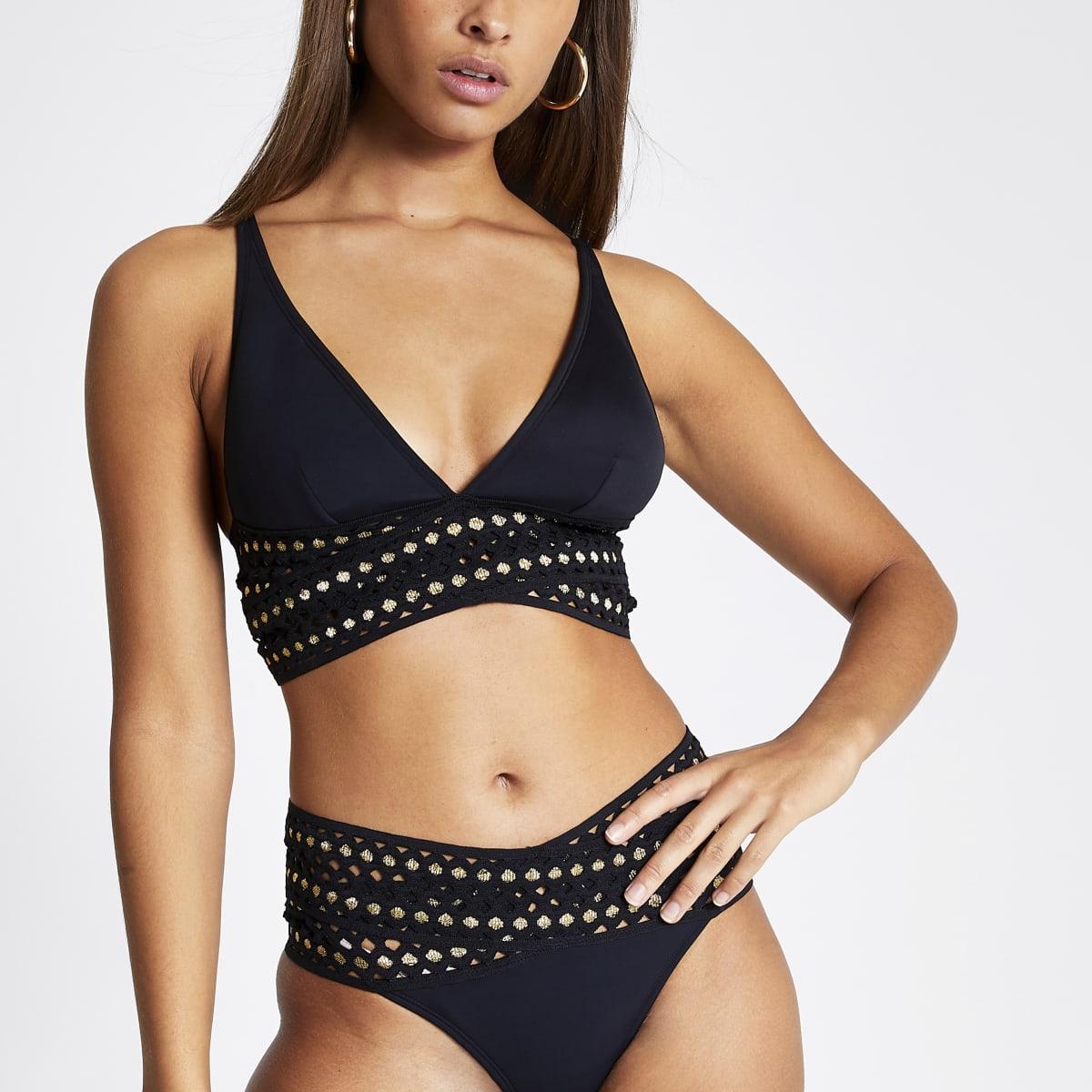 Black elasticated high apex bikini top