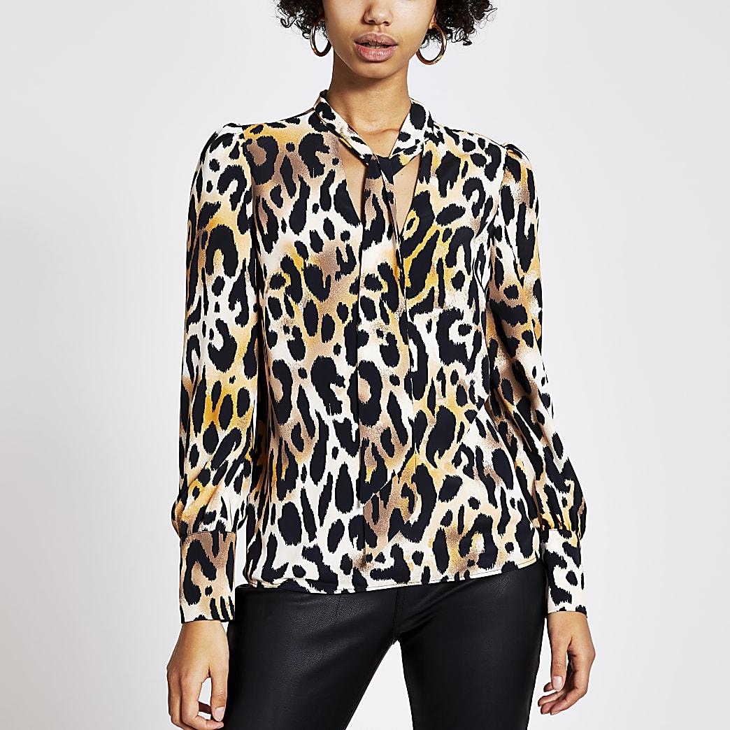 Bruine blouse met luipaardprint en V-hals met strik