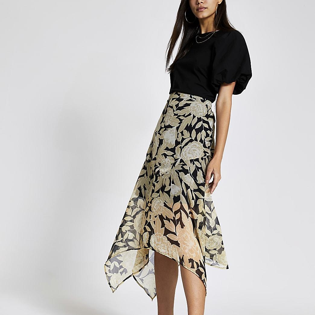 Black floral asymmetric hem midi skirt