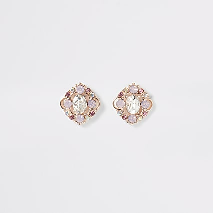 Rose gold colour jewel stud earrings