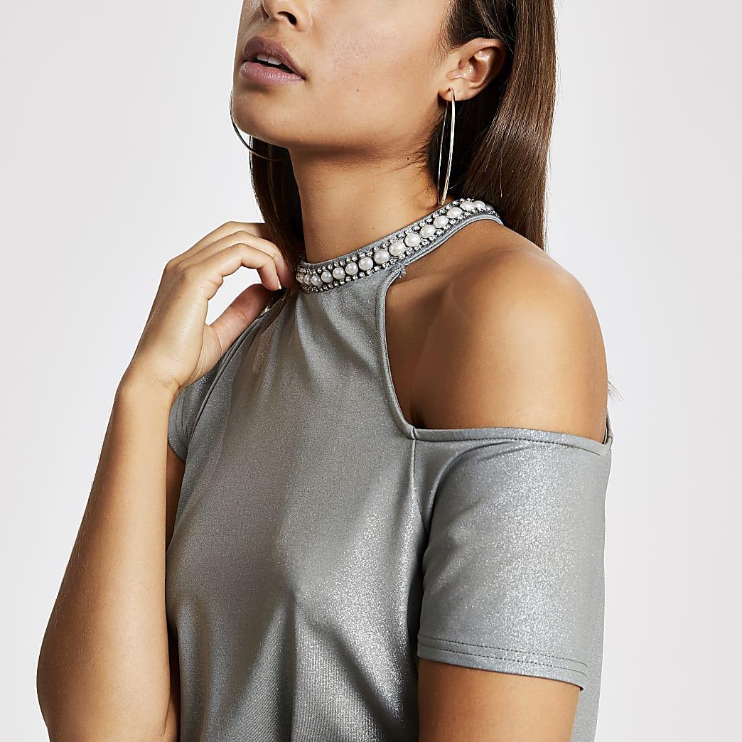 Kaki metallicverfraaide schouderloze  overhemdtop