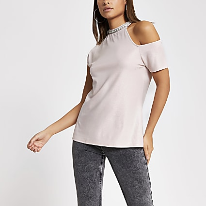 Pink metallic cold shirt embellished top