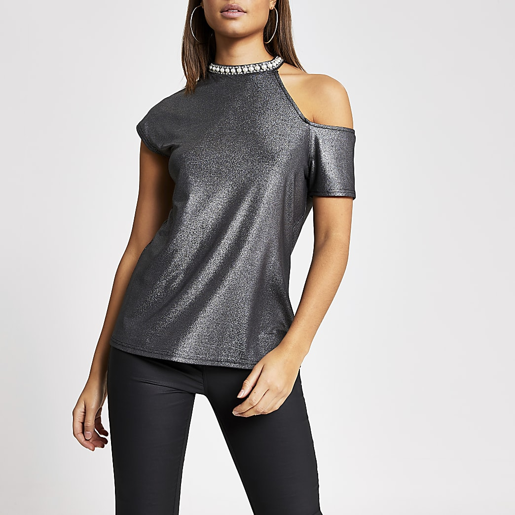 Black metallic cold shirt embellished top