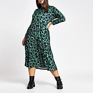 RI Plus -Groene gesmokte midi-jurk met bloemenprint