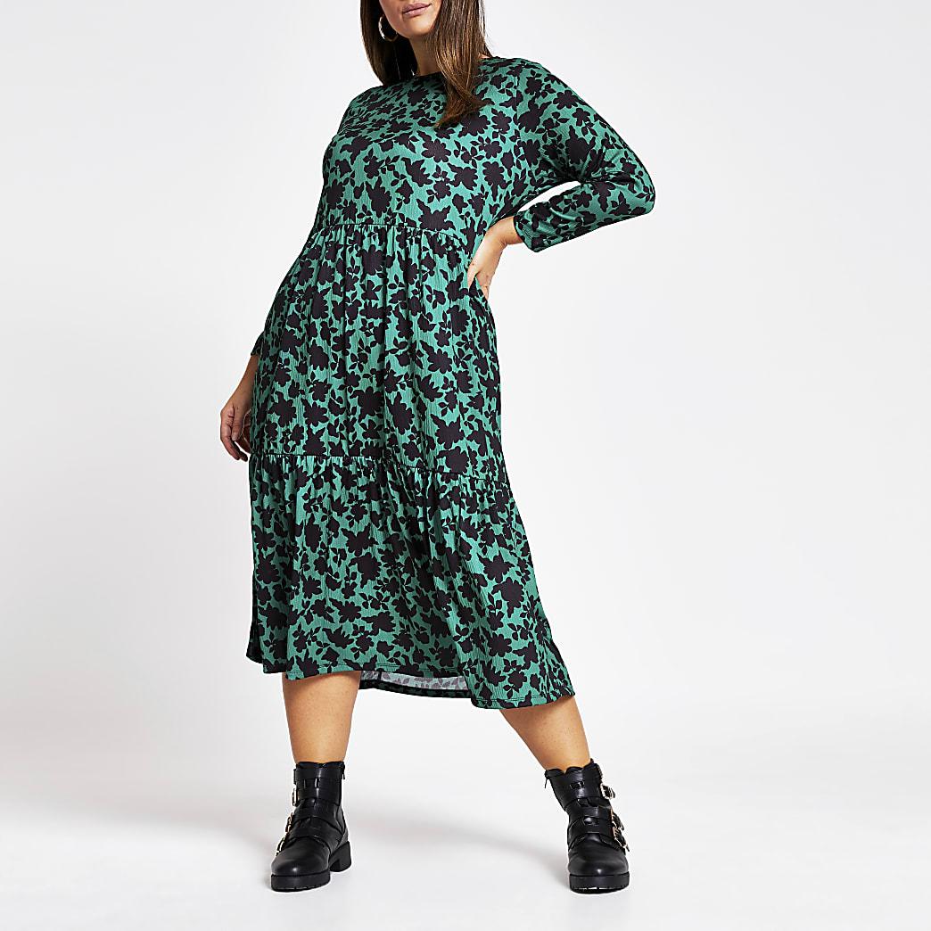 Plus green floral midi smock dress