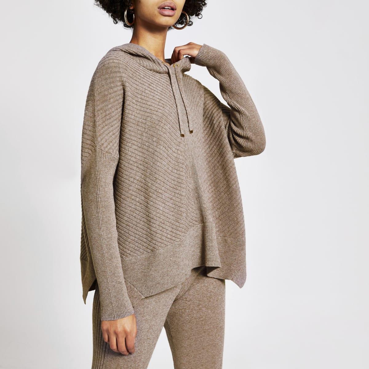 Bruine geribbelde gebreide hoodie met lange mouwen