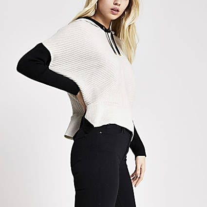 Cream colour blocked rib knitted hoodie