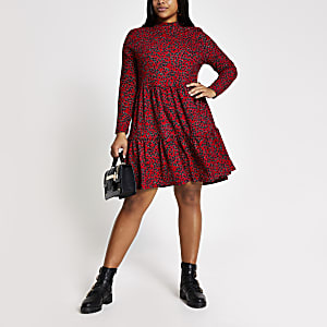 Plus red floral mini smock dress