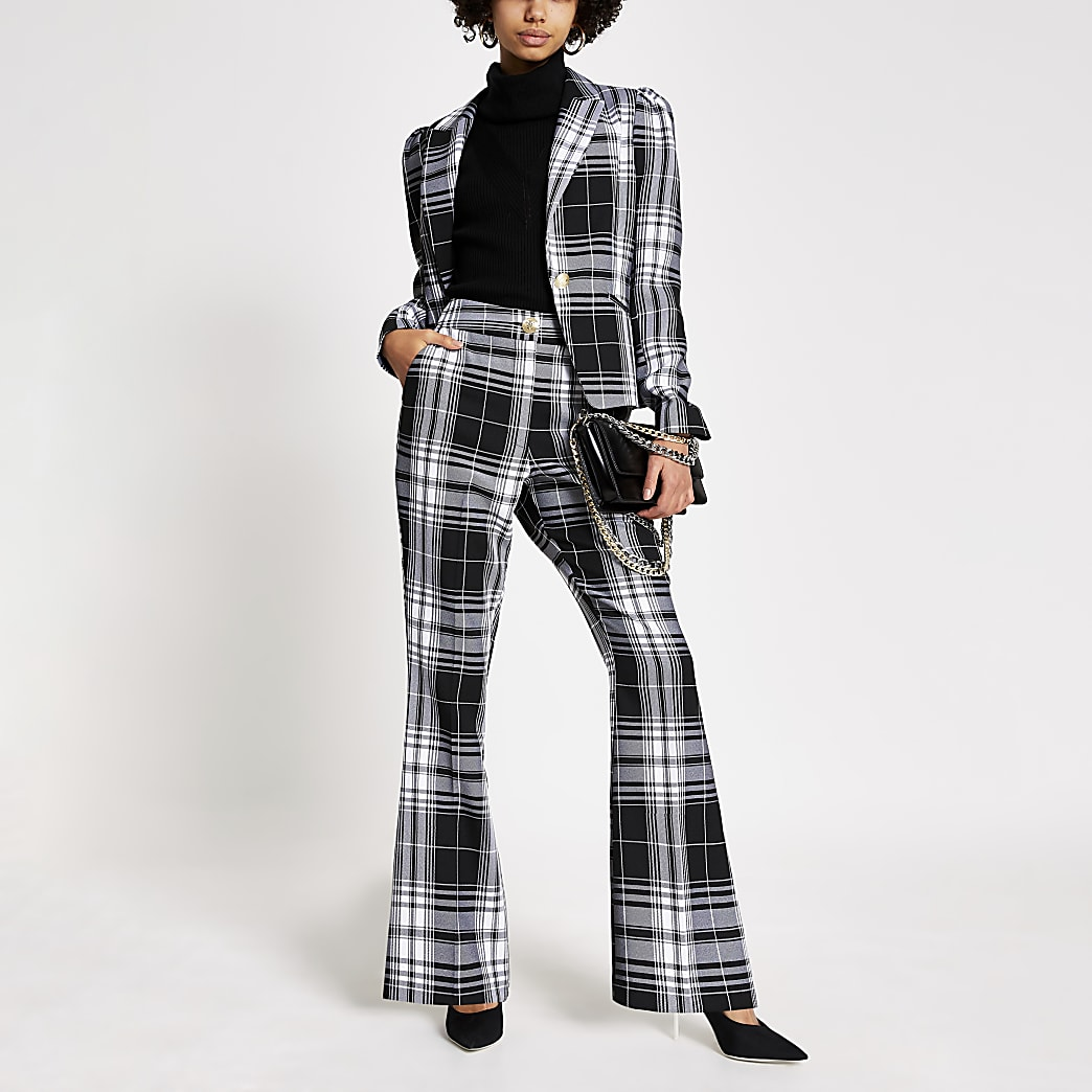 Black monochrome check flare trousers