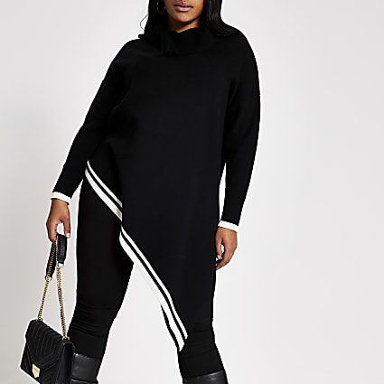 Plus black asymmetric knitted tunic jumper