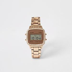 Roségouden digital horloge met siersteentjes