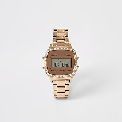 Rose gold colour diamante digital watch
