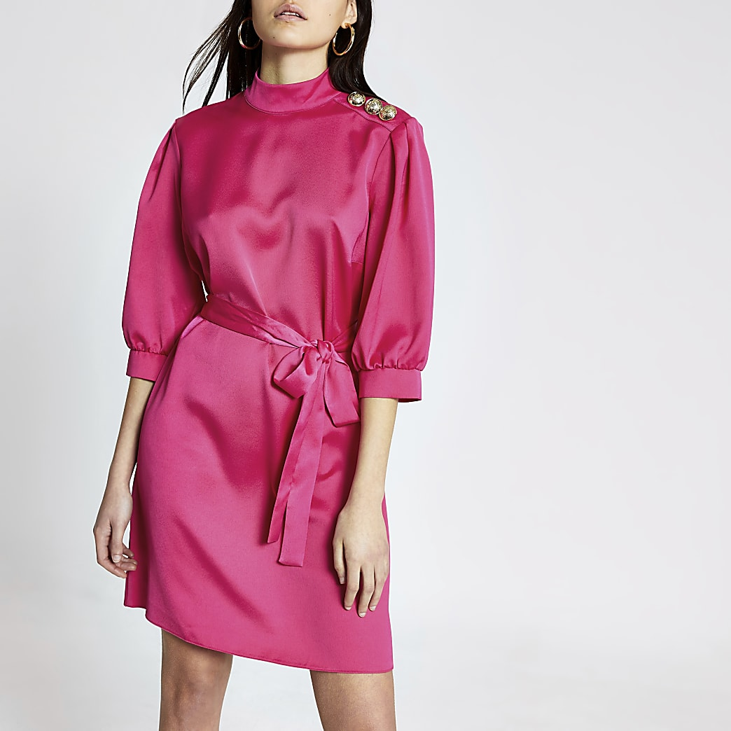Pink button shoulder belted satin mini dress