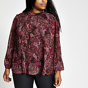 Plus red paisley pleated long sleeve blouse