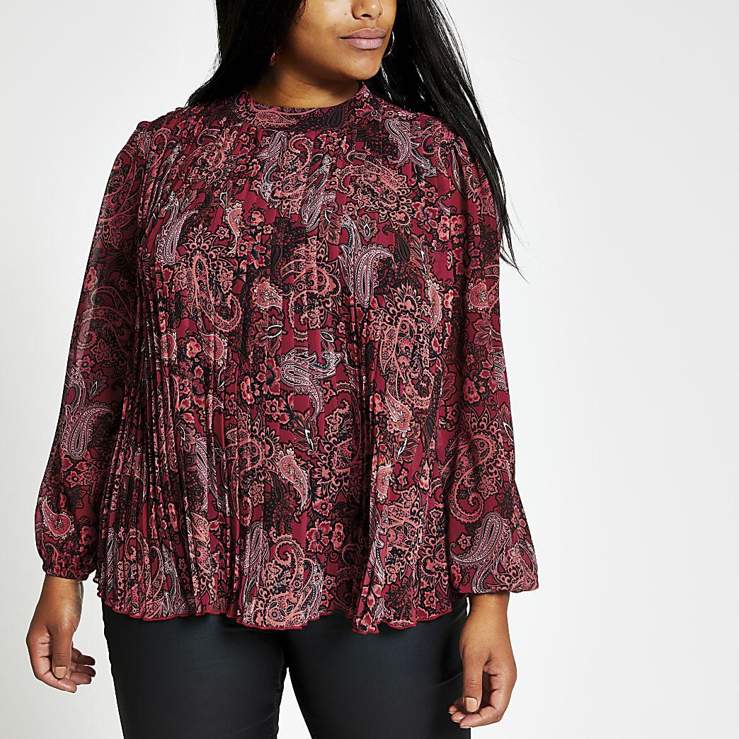 Plus – Rote, langärmelige Plisseebluse mit Paisley-Muster