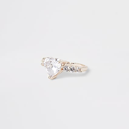 Rose gold heart diamante ring