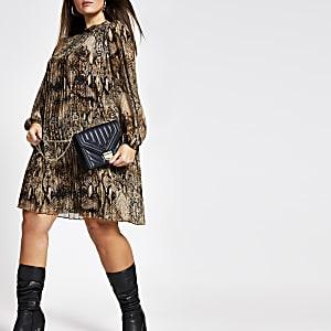 RI Plus - Bruine geplooide swing-jurk met slangenprint