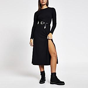 Zwarte geribbelde A-lijn midi-jurk met lange mouwen