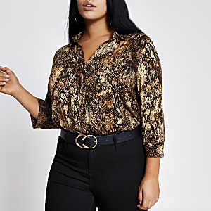 Plus - Chemise marron avec imprimé léopard