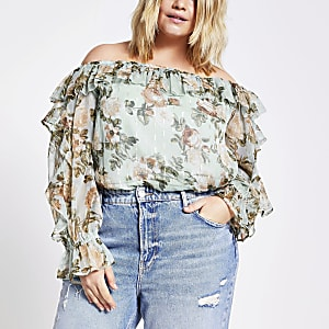 Plus blue floral frill bardot blouse