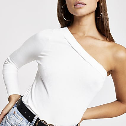 Cream one shoulder long sleeve ribbed top