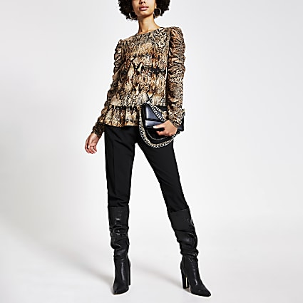 Brown printed puff long sleeve top