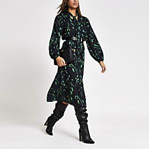 Groene midi-jurk met print en V-hals met strik