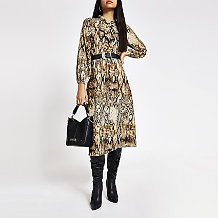 Brown snake printed tie V neck midi dress