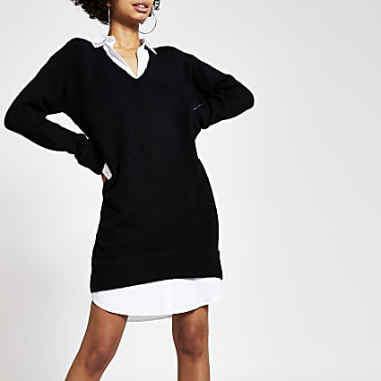 Black embellished jumper shirt dress