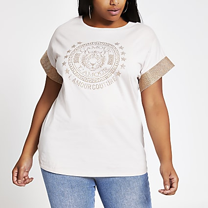 Plus beige embellished sleeve T-shirt