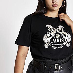 """Plus – Schwarzes  T-Shirt""""Paris"""" mit Paisley-Print"""