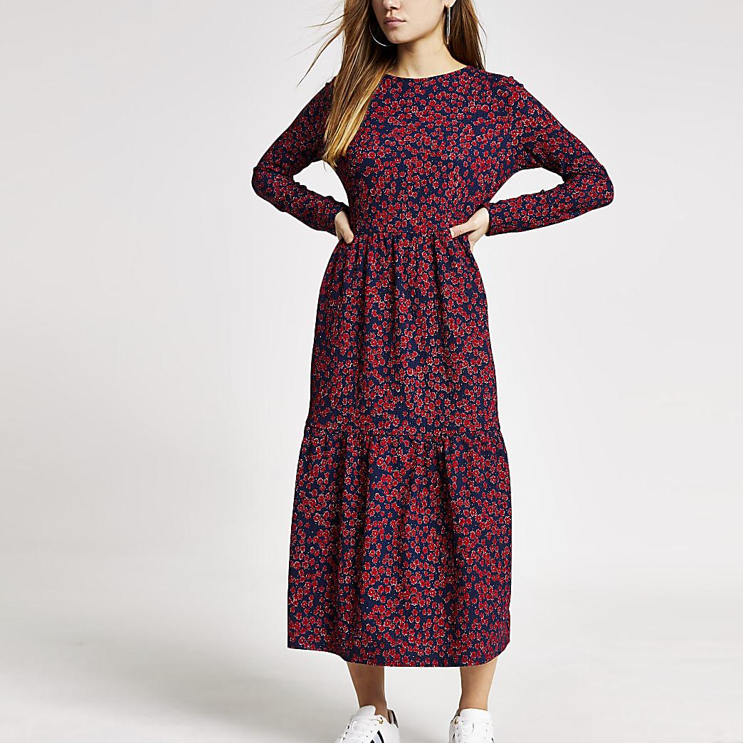 RI Petite - Rode gesmokte midi-jurk met bloemenprint