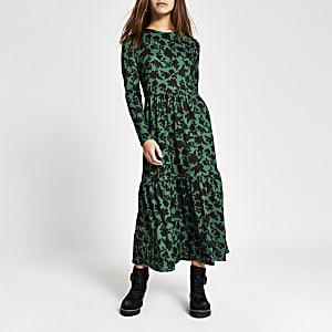 Petite - Robe  à smocksmi-longue verte, imprimé fleuri