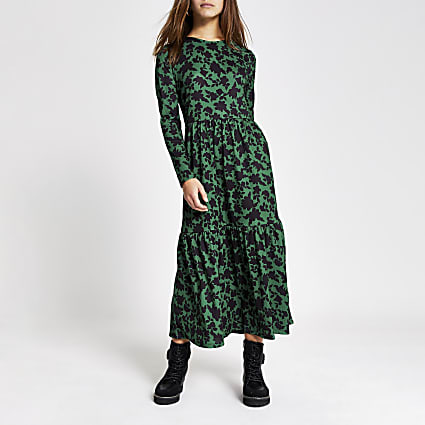 Petite green floral midi smock dress