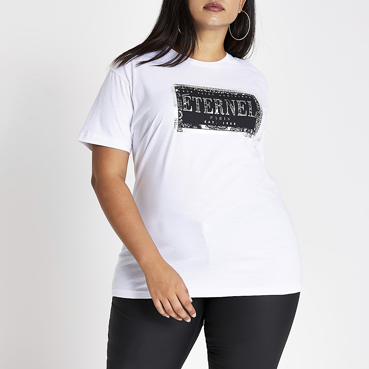 Plus white 'Eternal' printed T-shirt